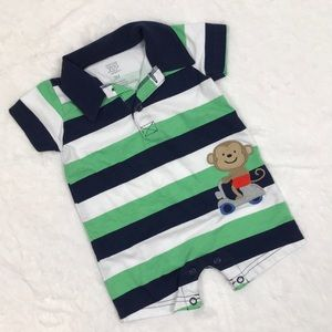 Striped Collared Shorts Jumper